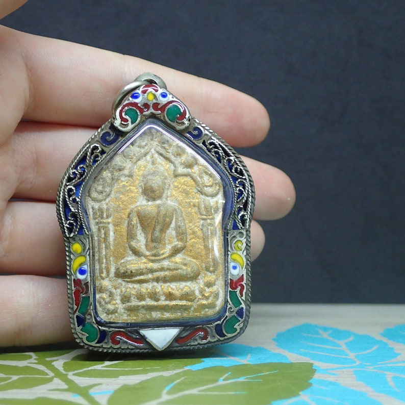 Buddha Amulet Protection Attract Fortune Success Rich Talisman Thai Holy Old