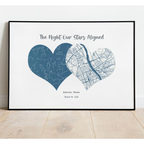 Custom Star Map First Anniversary Gift Couples Gift 1 Year Anniversary Gifts For Boyfriend One Year Anniversary 1 Year Anniversary