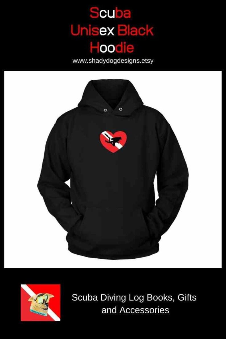 Love Scuba Diving Unisex Hoodie Diver Down Flag Heart Black image 0