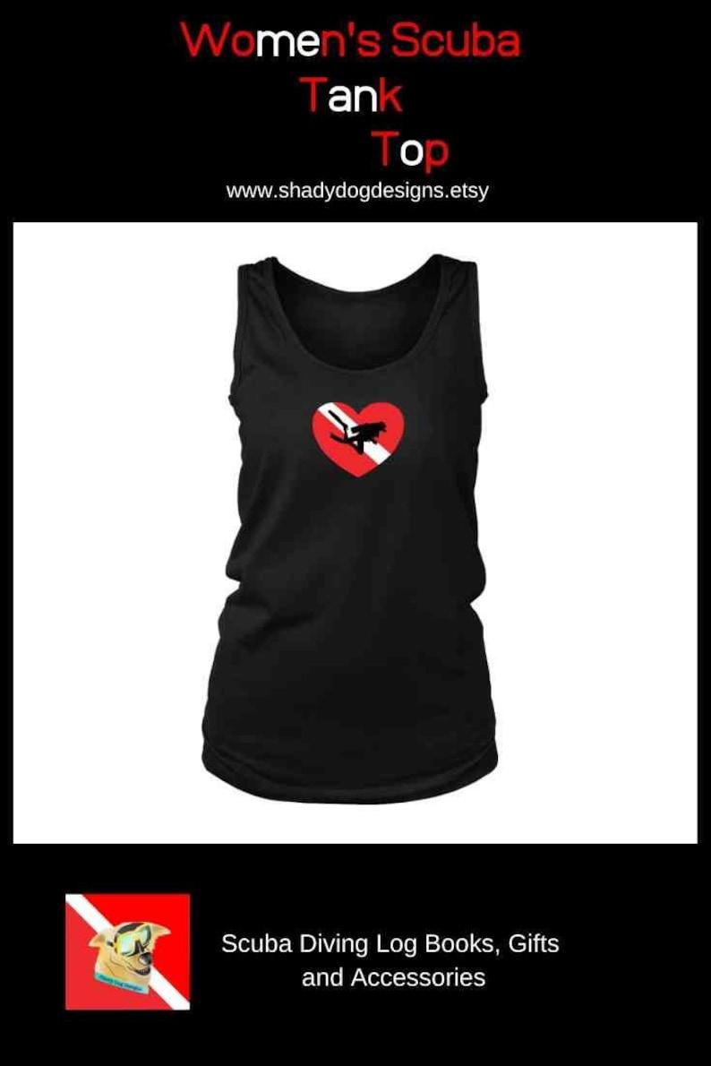 Love Scuba Diving Diver Down Flag Heart Women's Tank Top image 0