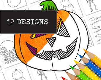 """12 Printable Halloween Coloring Pages    Includes Pumpkin, Skeleton, Witch and More!   8.5x11"""" BIG Designs for Toddlers, Pre-K, Kindergarten"""