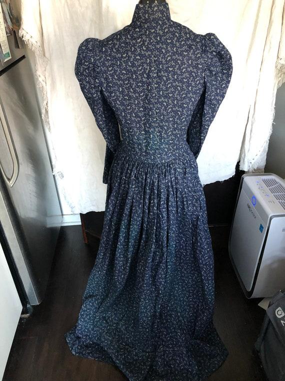 Antique 1800s indigo calico dress - image 2