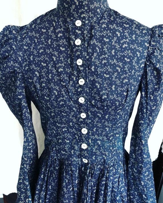 Antique 1800s indigo calico dress - image 4