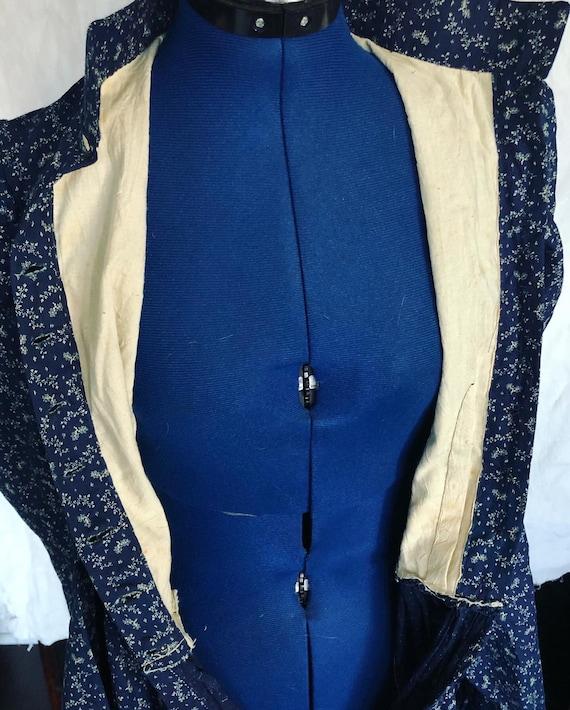 Antique 1800s indigo calico dress - image 3