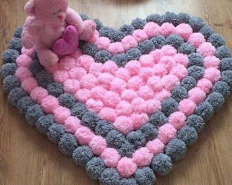CrochetbyMyraB -PomPom Rugs, Various Color Choices