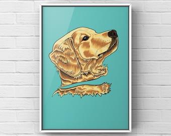 Golden Retriever - Dog Illustration - A3 Poster Print