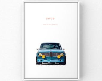 Classic Car Print - Vintage BMW 2002 A4 Poster Print
