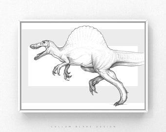 Dinosaur Poster Print - A4 Spinosaurus - Kids Animal Drawing Illustration Birthday Present - Pencil Black and White