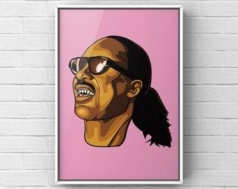 Stevie Wonder - Poster Pop Art - Illustration A3 A4 Print