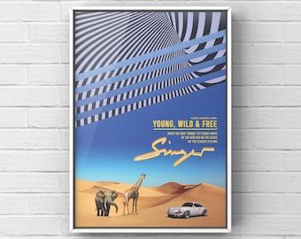 Porsche Car Poster - 'Young, Wild & Free' - Singer Motivational A4 Poster Print
