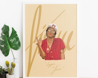 """Bruno Mars - A4 / A3 / A2 / A1 - illustration poster pop art print - """"drippin in finesse"""""""