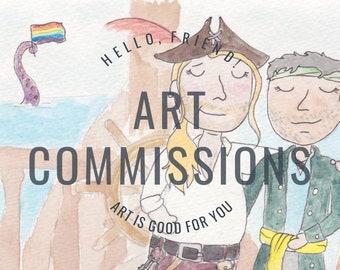 Custom A6 Watercolour Portrait Commission