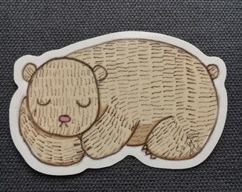 Sleepy bear - 10cm vinyl sticker