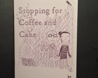 Stopping For Coffee and Cake - A6 black and white graphic novel cookbook by Sami Kelsh - fika, magic, and an enchanted forest
