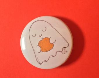Pumpkin Ghost Pin Badge Pinback Button - A Cute Halloween Friend 38mm illustration
