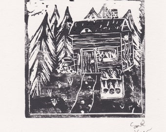 The Witches' Cottage - A6 linocut print of a cottage in an enchanted forest