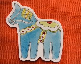 Sleipnir - 10cm eight legged dala horse vinyl sticker