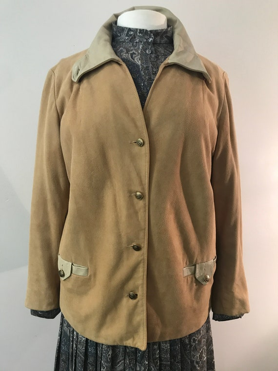Vintage Buttery Suede Jacket | Leather Trim | 1960