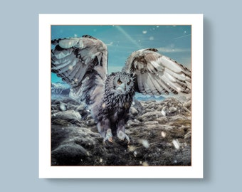 For Special Ones - Winter Owl with Open Wings in a Snowy Nature Scene; Photo Card - Blank Inside