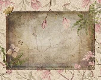 Ephemera Magnolia Branches and Flower, Orchard Garden Junk Journal Scrapbook Digital Download 2 Sheets High Res A4 Paper