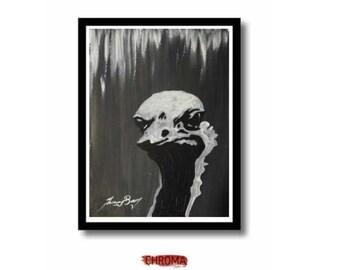 Ostrich original acrylic pet portrait painting