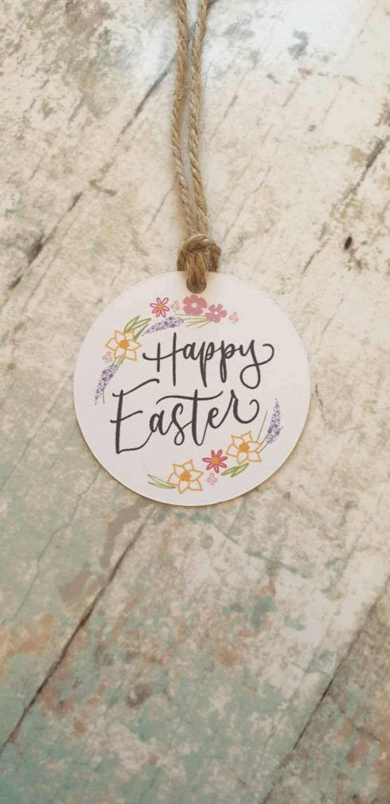 spring wreath happy Easter flowers label gift wrap Easter circular tags