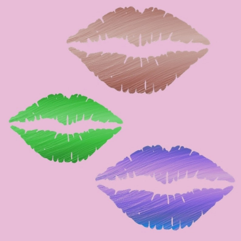 9 Cute Colorful Kiss Lips clipart set for UNLIMITED ...