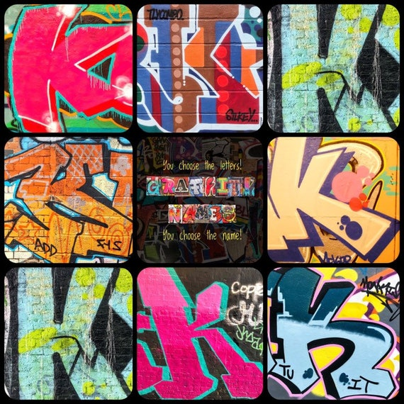 "You choose the letters Graffiti Letter /""K/"" 6x4 Print You choose the name!"