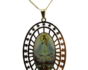 Virgen de Los Angeles Our Lady of Angels Medal 14k Gold Plated with 18 Chain
