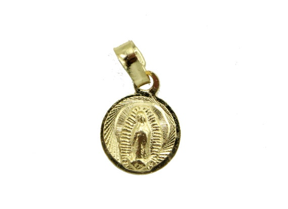Virgen de Guadalupe Mini Oval Medal 18k Gold Plated Pendant with 18 inch Chain