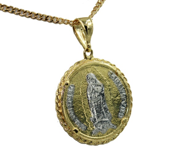 Virgen de Guadalupe Medal 18K Gold Plated with 20 inch Chain Guadalupe Medal