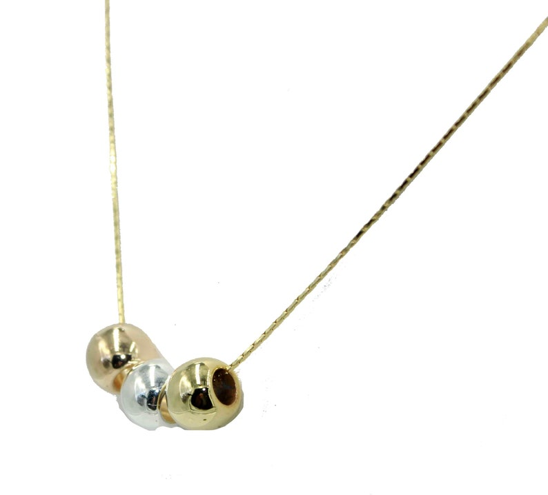 Three Tone Ball Bead 6mm Necklace 18 inch 18k Gold Plated Three Tone Necklace