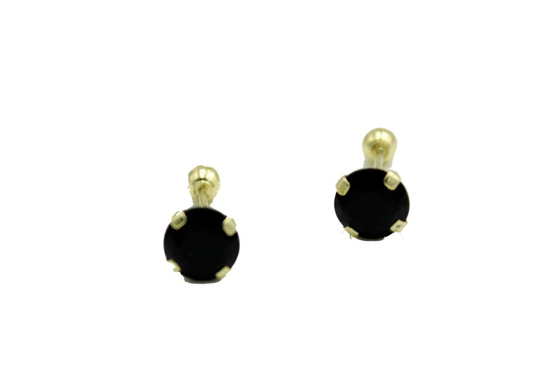 2f10c84e4fdd5 5mm Black Cubic Zirconia 14k Yellow Gold - Black CZ Stud 5mm Screwback