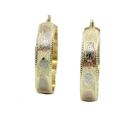 444a972e80201 Virgen de Guadalupe Hoop Earrings 18k Gold Plated Earrings - Our Lady of  Guadalupe Hoops