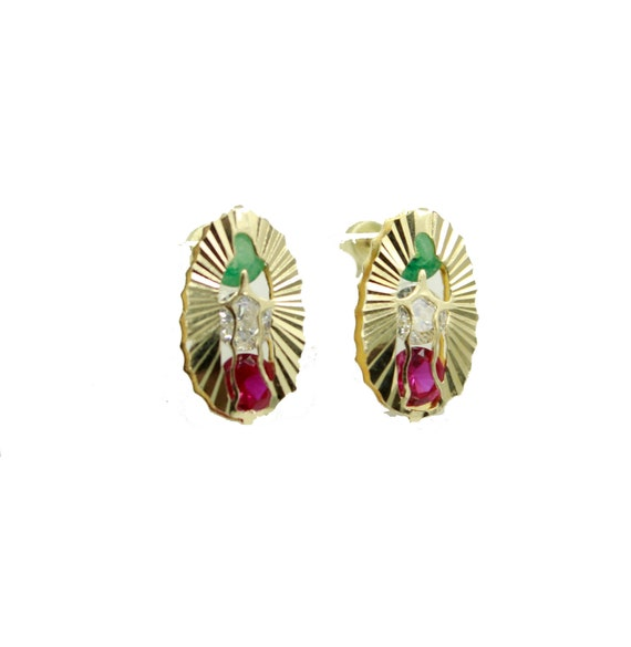 e2343263efcf4 Virgen de Guadalupe with Mexican Flag CZ Bezel 14k Gold Screw Back Earrings