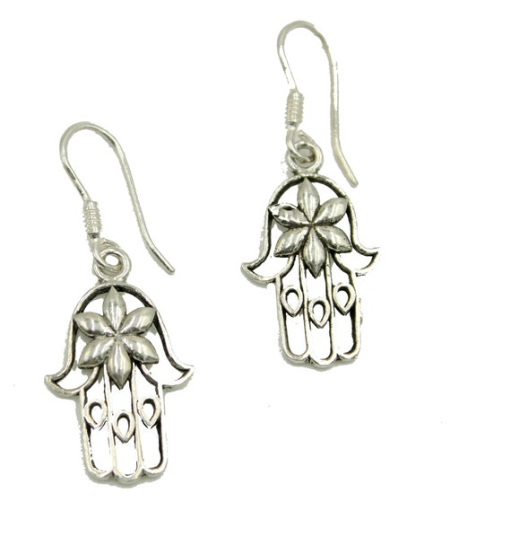 Fatima Hand Dangle Earring Hamsa Hand Dangle Earrings 18k Gold Plated Earrings