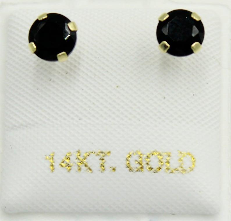 5mm Black Cubic Zirconia 14k Yellow Gold Black CZ Stud 5mm Screwback
