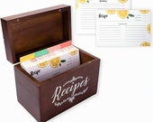 Outshine Vintage 4x6 Wood Recipe Box with Fruit Recipe Cards and Dividers- Recipe Card Box