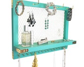 Outshine Teal Blue Gold Metal Hanging Wall Mounted Jewelry Organizer