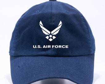 fc411f0cfa8 US Air Force Hat USAF Unstructured Navy Blue Dad Hat Adult Cap One Size  Adjustable
