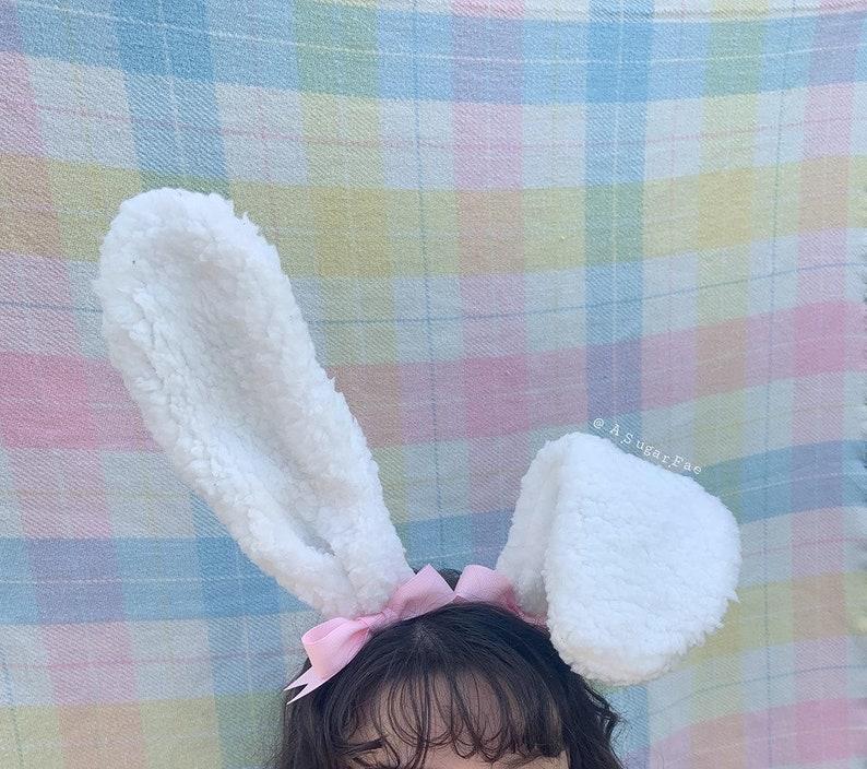 Fleece Bunny Ears White Tall Bendable Wire Headband