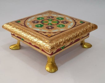 Wooden Chowki with handmade meenakari work| Chaurang| stool for God| Table for God Idols| Return Gifts| Decor| Pooja item| bajot| navratri