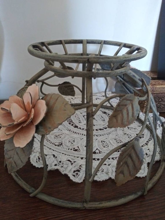 Wrought Iron Planter Basket Flowers Roses Pink Heavy 6x10