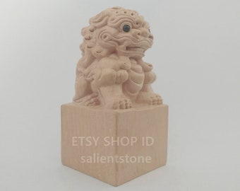 A Pair of Lion Chinese Seal Custom Birthday Gift Stone Stamp by Chisel Carve Signature Kanji Name Chop Calligraphy Painting Collection E418