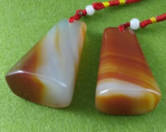2 Pieces of Chinese Seal Agate Stone Necklace Pendant Stamp Keychain String Custom Carve Name Chop Calligraphy Painting birthday gift E293