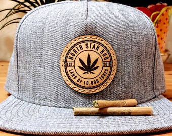 Minnesota Cannabis Leather Patch Snapback Hat   North Star Bud 15bb8ecf17e7