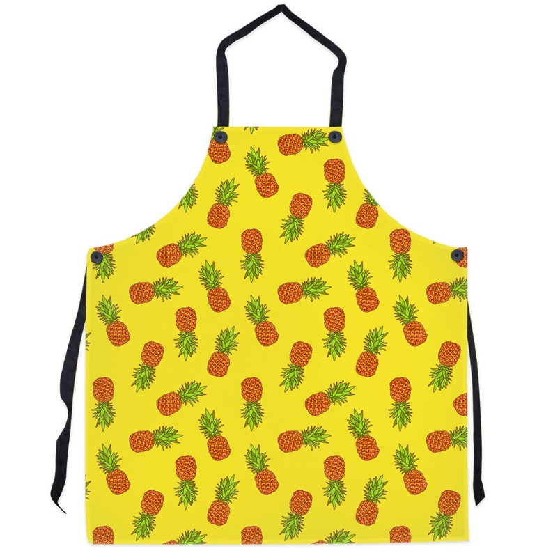 Foodie Gift Red Yellow Pineapple Print Chef Gift Housewarming gift Tablier Femme Homme Tablier de Cuisine Kitchen Apron