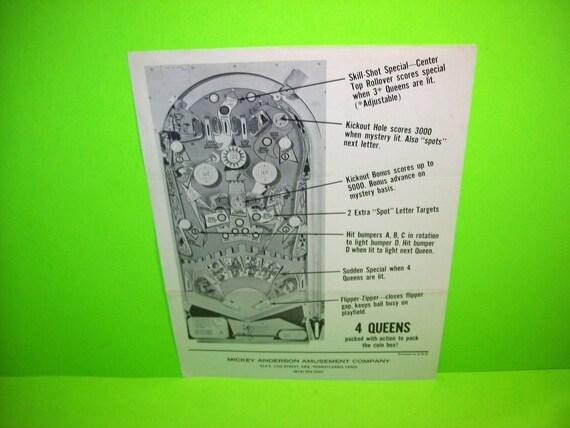 differently fashion best loved 4 Queens Pinball Machine FLYER 1970 Original Bally Flipper Game Promo  Artwork Sheet