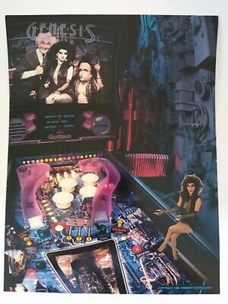 Gottlieb Genesis Pinball FLYER Original Game Sci-Fi Gothic Horror Art Print 1986 Flipper Machine Wall Decor