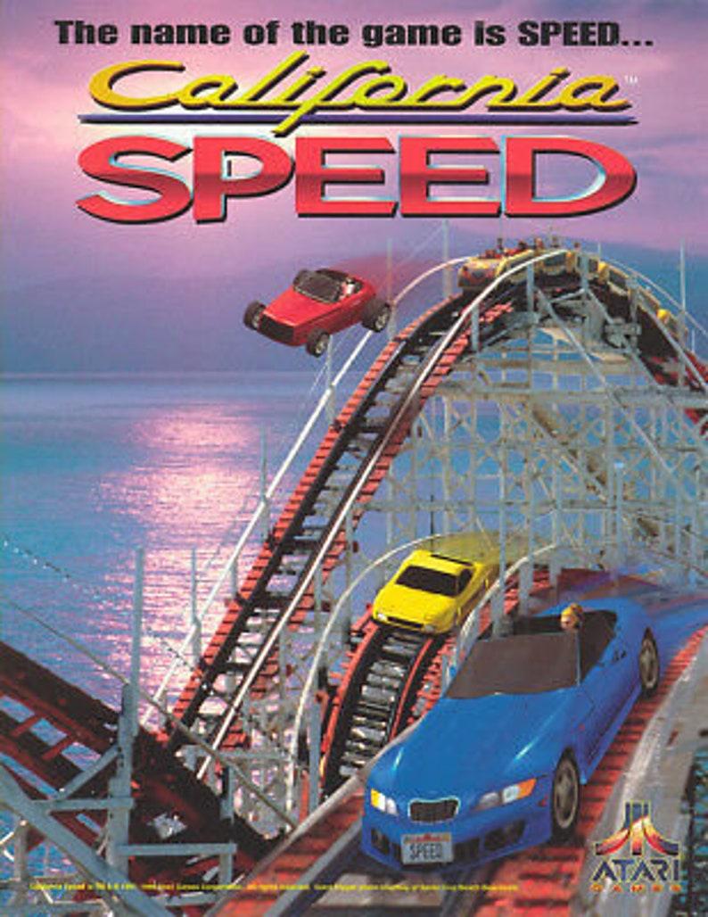 California Speed Arcade FLYER Original Atari NOS 1998 Video Game Artwork Foldout Retro Gift Artwork Room Decor